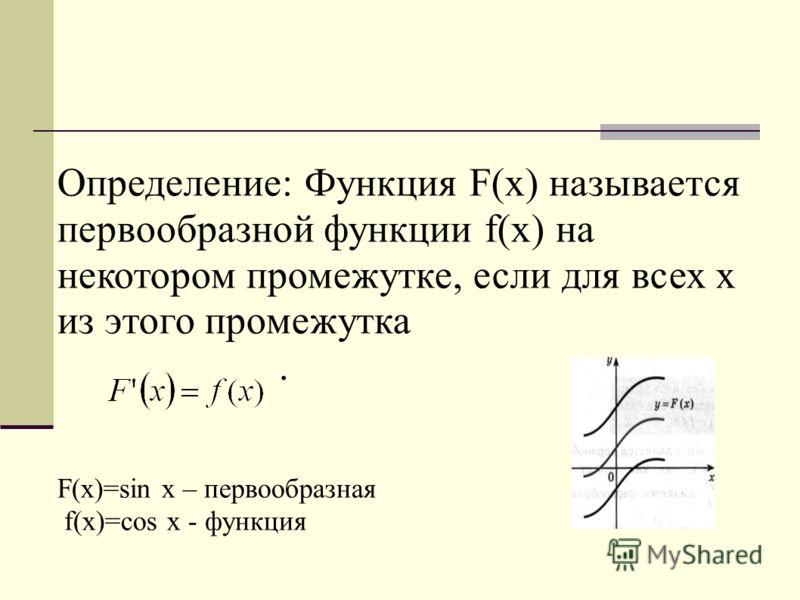 Определение: Функция F(x) называется первообразной функции f(x) на некотором промежутке, если для всех х из этого промежутка. F(x)=sin x – первообразная f(x)=cos x - функция
