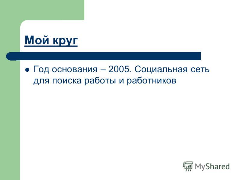 Мой круг Год основания – 2005. Социальная сеть для поиска работы и работников