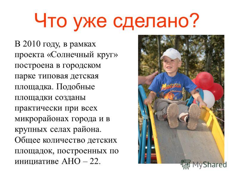 Что уже сделано? В 2010 году, в рамках проекта «Солнечный круг» построена в городском парке типовая детская площадка. Подобные площадки созданы практически при всех микрорайонах города и в крупных селах района. Общее количество детских площадок, пост
