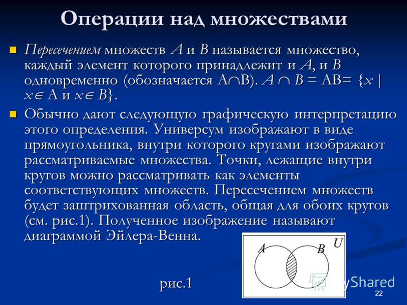 22 Операции над множествами Пересечением множеств A и B называется множество, каждый элемент которого принадлежит и A, и B одновременно (обозначается A B). A B = AB= {x | x A и x B}. Пересечением множеств A и B называется множество, каждый элемент ко