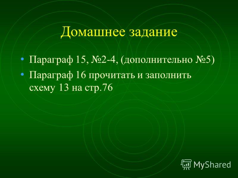 Домашнее задание Параграф 15, 2-4, (дополнительно 5) Параграф 16 прочитать и заполнить схему 13 на стр.76