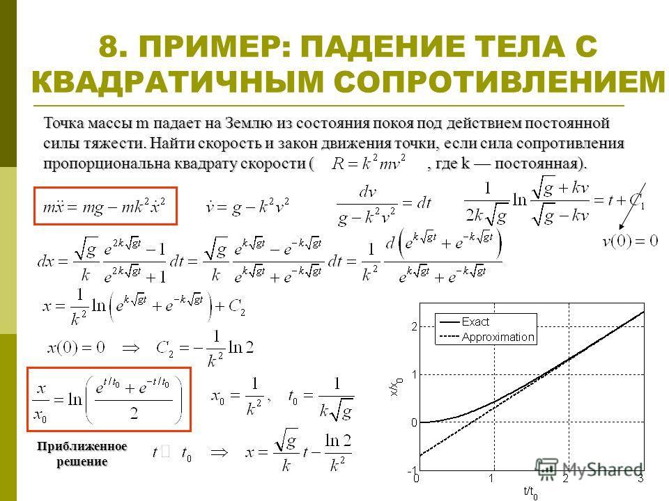 8. ПРИМЕР: ПАДЕНИЕ ТЕЛА С КВАДРАТИЧНЫМ СОПРОТИВЛЕНИЕМ Точка массы m падает на Землю из состояния покоя под действием постоянной силы тяжести. Найти скорость и закон движения точки, если сила сопротивления пропорциональна квадрату скорости (, где k по