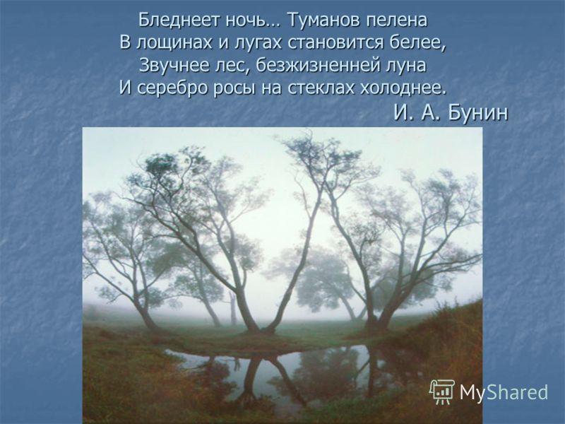 Бледнеет ночь… Туманов пелена В лощинах и лугах становится белее, Звучнее лес, безжизненней луна И серебро росы на стеклах холоднее. И. А. Бунин