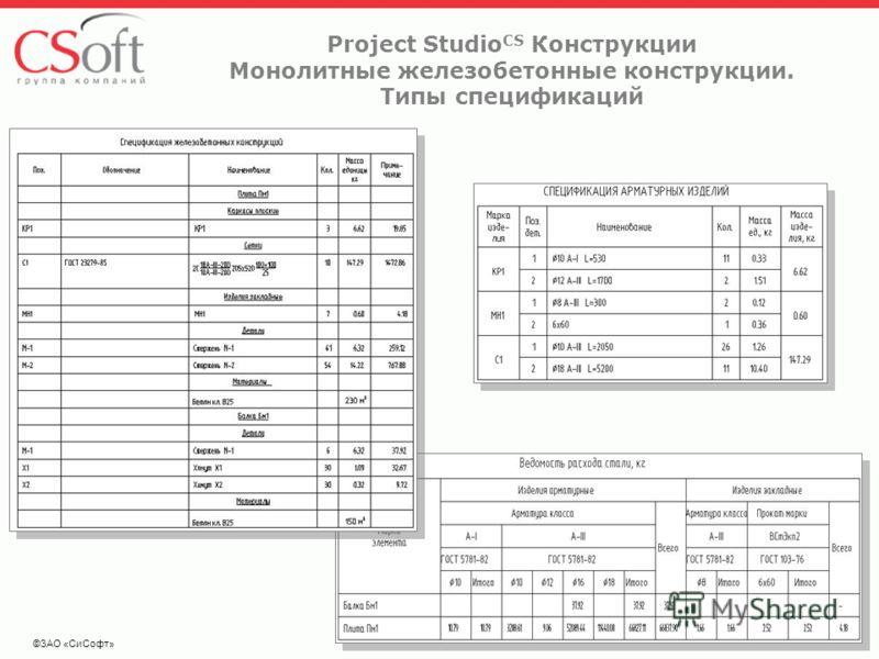 ©ЗАО «СиСофт» Project Studio CS Конструкции Монолитные железобетонные конструкции. Типы спецификаций
