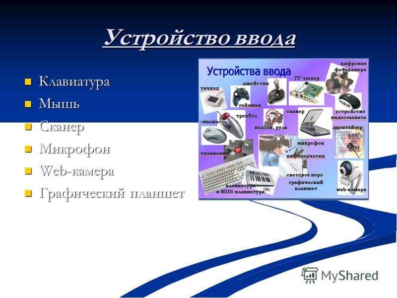 Устройство ввода Клавиатура Клавиатура Мышь Мышь Сканер Сканер Микрофон Микрофон Web-камера Web-камера Графический планшет Графический планшет