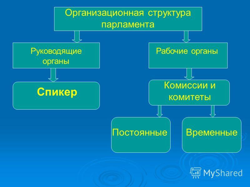 Организационная структура парламента Руководящие органы Рабочие органы Спикер Комиссии и комитеты ПостоянныеВременные