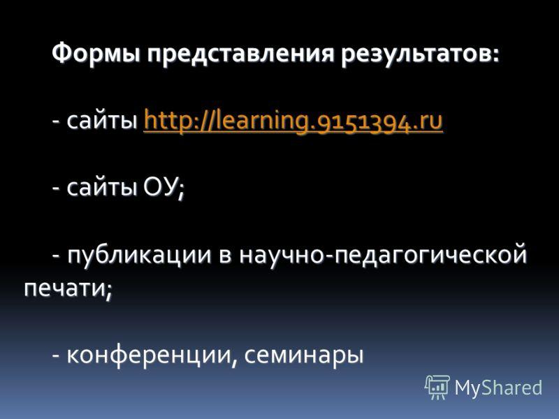Формы представления результатов: - сайты http://learning.9151394.ru http://learning.9151394.ru - сайты ОУ; - публикации в научно-педагогической печати; - конференции, семинары