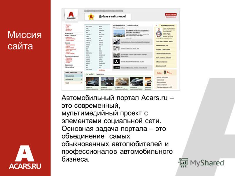 Автомобильный портал Acars.ru – это современный, мультимедийный проект с элементами социальной сети. Основная задача портала – это объединение самых обыкновенных автолюбителей и профессионалов автомобильного бизнеса. Миссия сайта