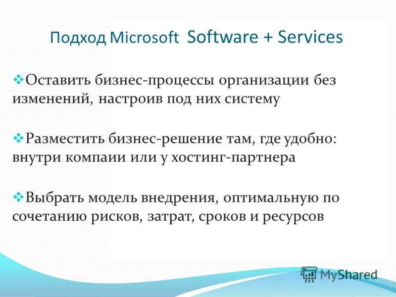Подход Microsoft Software + Services Оставить бизнес-процессы организации без изменений, настроив под них систему Разместить бизнес-решение там, где удобно: внутри компаии или у хостинг-партнера Выбрать модель внедрения, оптимальную по сочетанию риск