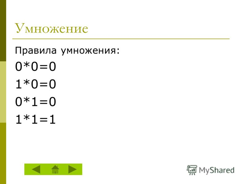 Умножение Правила умножения: 0*0=0 1*0=0 0*1=0 1*1=1