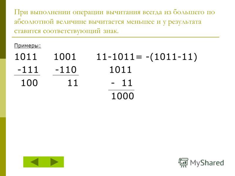 При выполнении операции вычитания всегда из большего по абсолютной величине вычитается меньшее и у результата ставится соответствующий знак. Примеры: 1011 1001 11-1011= -(1011-11) -111 -110 1011 100 11 - 11 1000