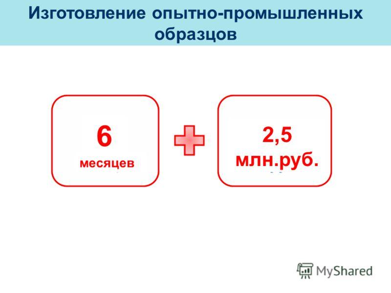 Изготовление опытно-промышленных образцов 6 месяцев 2,5 млн.руб.