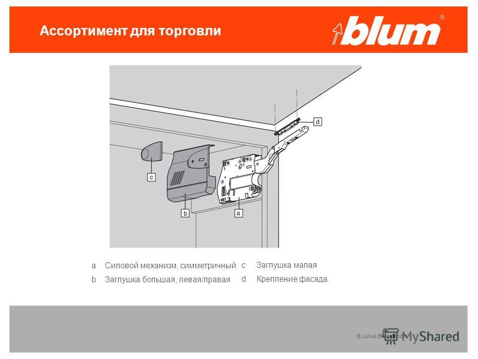 © Julius Blum GmbH Ассортимент для торговли а Силовой механизм, симметричный b Заглушка большая, левая/правая c Заглушка малая d Крепление фасада
