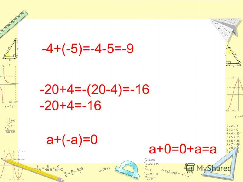 -4+(-5)=-4-5=-9 -20+4=-(20-4)=-16 -20+4=-16 а+(-а)=0 а+0=0+а=а