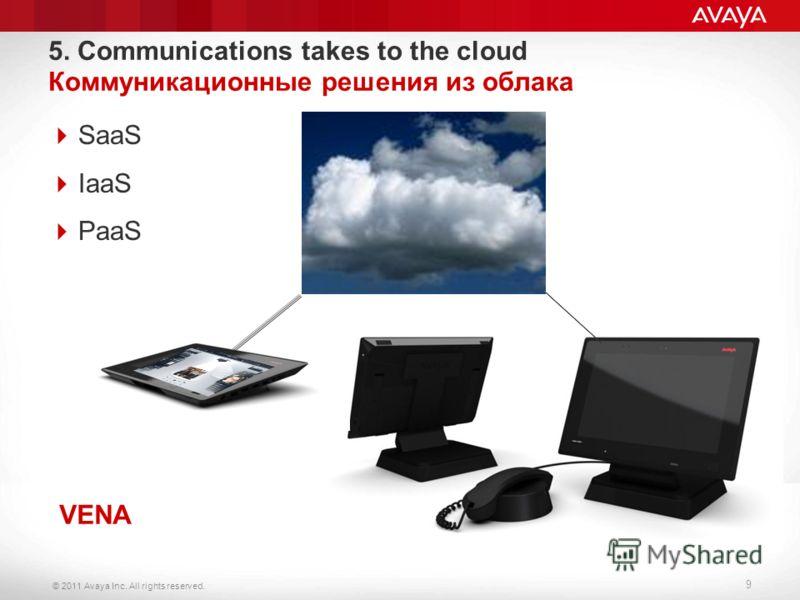© 2011 Avaya Inc. All rights reserved. 9 5. Communications takes to the cloud Коммуникационные решения из облака SaaS IaaS PaaS VENA