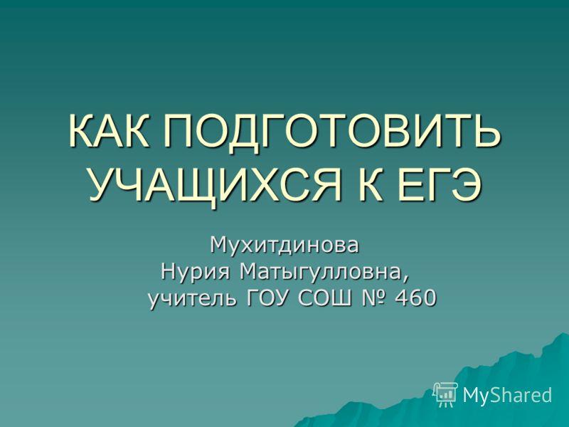 КАК ПОДГОТОВИТЬ УЧАЩИХСЯ К ЕГЭ Мухитдинова Нурия Матыгулловна, учитель ГОУ СОШ 460 учитель ГОУ СОШ 460