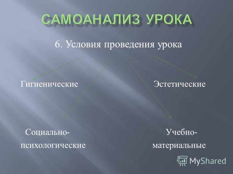 6. Условия проведения урока Гигиенические Эстетические Социально - Учебно - психологические материальные