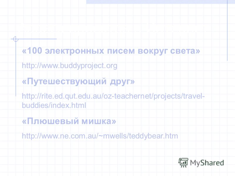 Адреса проектов в Интернет «100 электронных писем вокруг света» http://www.buddyproject.org «Путешествующий друг» http://rite.ed.qut.edu.au/oz-teachernet/projects/travel- buddies/index.html «Плюшевый мишка» http://www.ne.com.au/~mwells/teddybear.htm