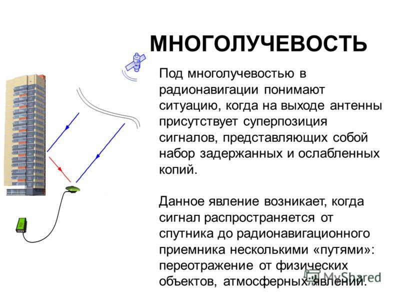 МНОГОЛУЧЕВОСТЬ Под многолучевостью в радионавигации понимают ситуацию, когда на выходе антенны присутствует суперпозиция сигналов, представляющих собой набор задержанных и ослабленных копий. Данное явление возникает, когда сигнал распространяется от