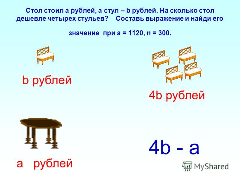 Стол стоил а рублей, а стул – b рублей. На сколько стол дешевле четырех стульев? Составь выражение и найди его значение при a = 1120, n = 300. b рублей 4b рублей а рублей 4b - а