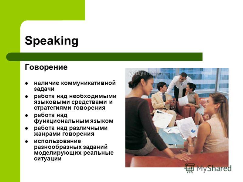 Speaking Говорение наличие коммуникативной задачи работа над необходимыми языковыми средствами и стратегиями говорения работа над функциональным языком работа над различными жанрами говорения использование разнообразных заданий моделирующих реальные