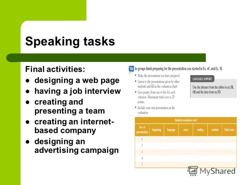 Speaking tasks Final activities: designing a web page having a job interview creating and presenting a team creating an internet- based company designing an advertising campaign