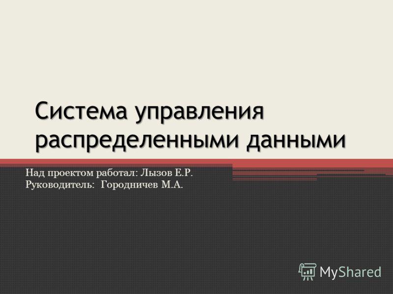 Система управления распределенными данными Над проектом работал: Лызов Е.Р. Руководитель: Городничев М.А.
