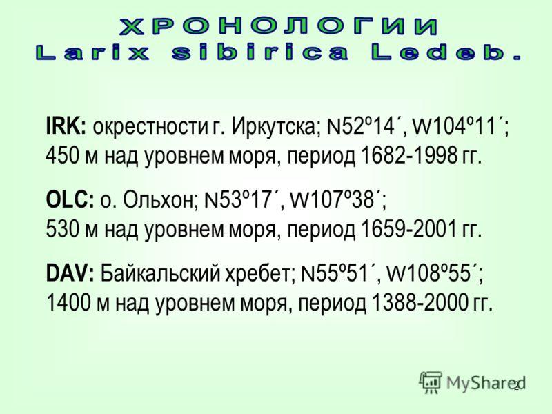 2 IRK: окрестности г. Иркутска; N 52º14´, W 104º11´; 450 м над уровнем моря, период 1682-1998 гг. OLC: о. Ольхон; N 53º17´, W 107º38´; 530 м над уровнем моря, период 1659-2001 гг. DAV: Байкальский хребет; N 55º51´, W 108º55´; 1400 м над уровнем моря,