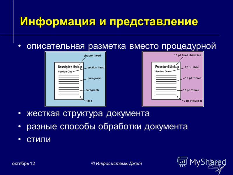 июль 12© Инфосистемы Джет Информация и представление описательная разметка вместо процедурной жесткая структура документа разные способы обработки документа стили