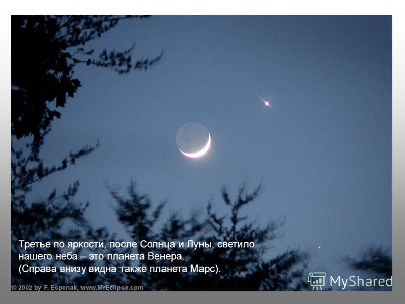 Третье по яркости, после Солнца и Луны, светило нашего неба – это планета Венера. (Справа внизу видна также планета Марс).