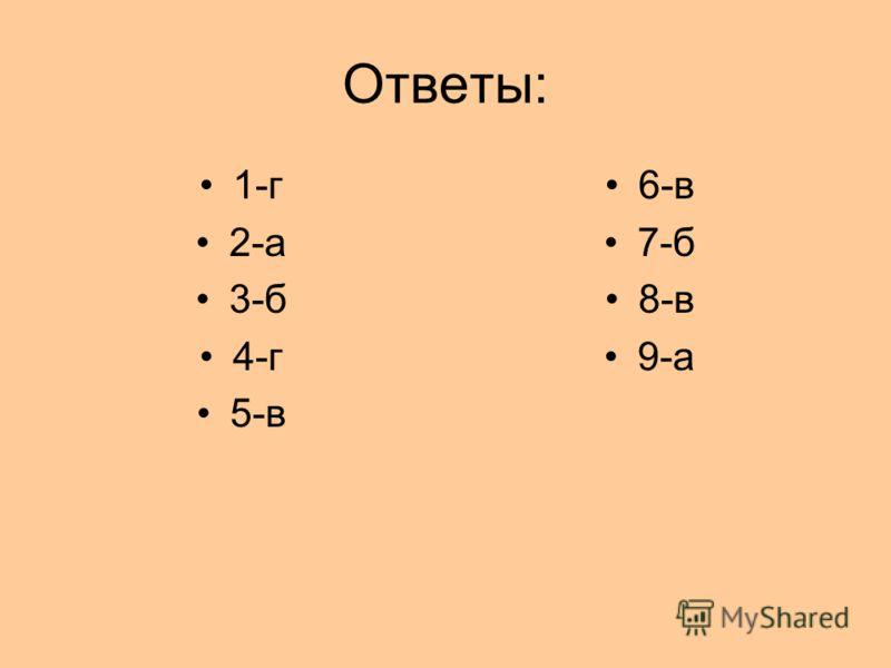 Ответы: 1-г 2-а 3-б 4-г 5-в 6-в 7-б 8-в 9-а