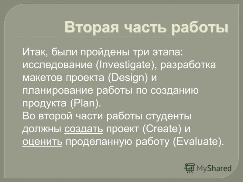 Вторая часть работы Итак, были пройдены три этапа: исследование (Investigate), разработка макетов проекта (Design) и планирование работы по созданию продукта (Plan). Во второй части работы студенты должны создать проект (Create) и оценить проделанную
