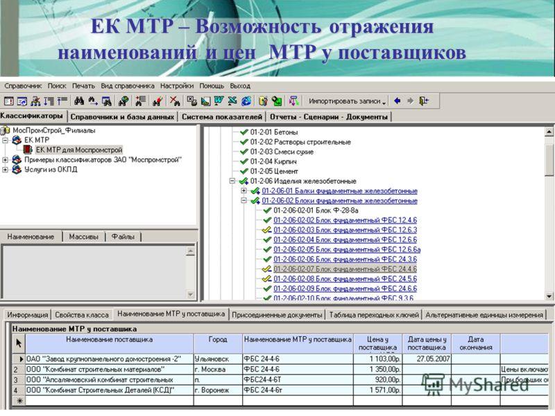 ЕК МТР – Возможность отражения наименований и цен МТР у поставщиков