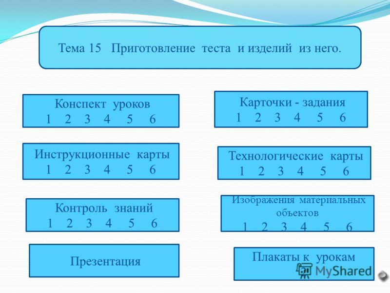 Тема 15 Приготовление теста и изделий из него. Конспект уроков 1 2 3 4 5 6 Инструкционные карты 1 2 3 4 5 6 Контроль знаний 1 2 3 4 5 6 Карточки - задания 1 2 3 4 5 6 Технологические карты 1 2 3 4 5 6 Изображения материальных объектов 1 2 3 4 5 6 Пре