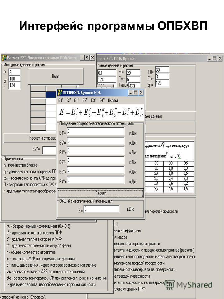 Интерфейс программы ОПБХВП