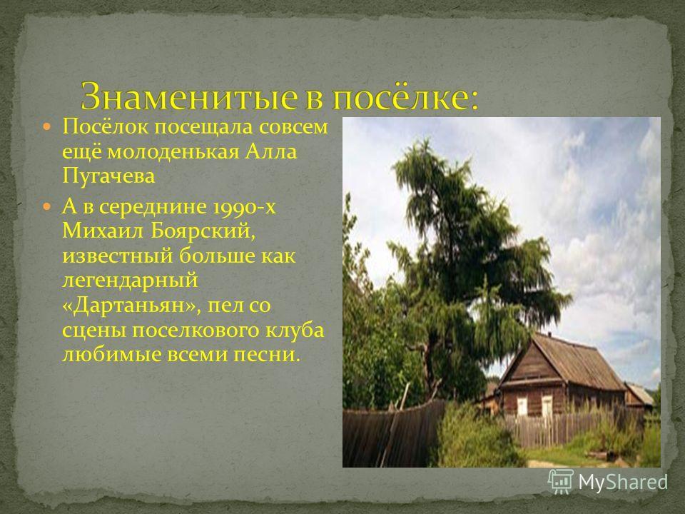 Посёлок посещала совсем ещё молоденькая Алла Пугачева А в середнине 1990-х Михаил Боярский, известный больше как легендарный «Дартаньян», пел со сцены поселкового клуба любимые всеми песни.