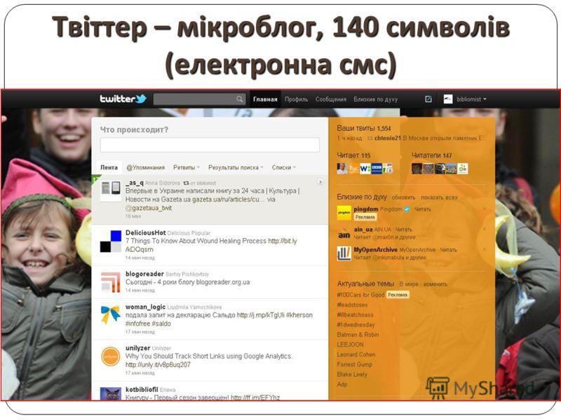 Твіттер – мікроблог, 140 символів ( електронна смс )