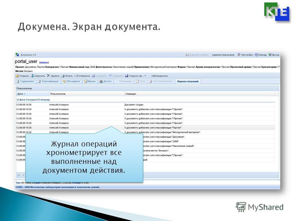 Журнал операций хронометрирует все выполненные над документом действия.