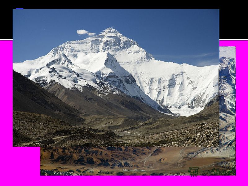 Находится в Гималаях и расположена на границе (самая высокая в мире) Непала и Китая (Тибетский автономный район), сама вершина лежит на территории Китая. Имеет форму пирамиды; южный склон более крутой. На южном склоне и рёбрах пирамиды снег и фирн не