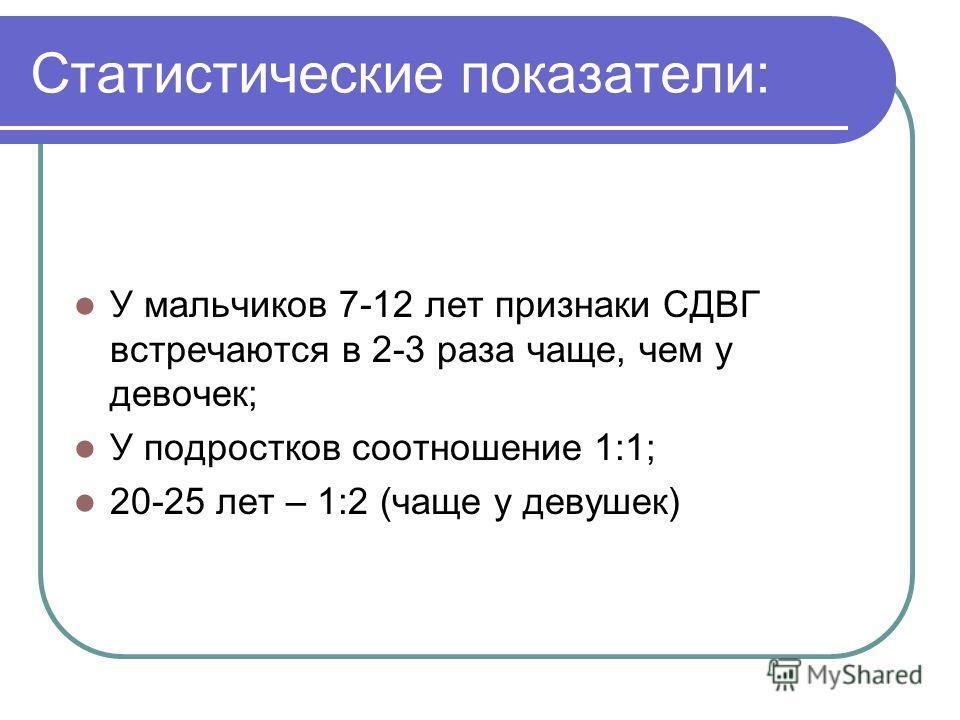 Статистические показатели: У мальчиков 7-12 лет признаки СДВГ встречаются в 2-3 раза чаще, чем у девочек; У подростков соотношение 1:1; 20-25 лет – 1:2 (чаще у девушек)