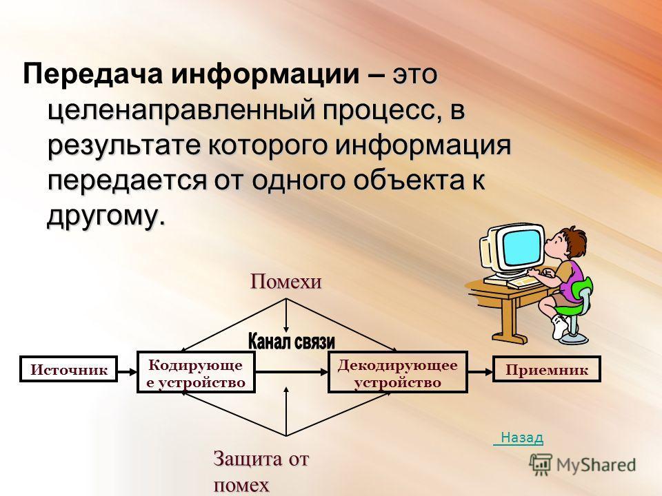 это целенаправленный процесс, в результате которого информация передается от одного объекта к другому. Передача информации – это целенаправленный процесс, в результате которого информация передается от одного объекта к другому. Источник Кодирующе е у