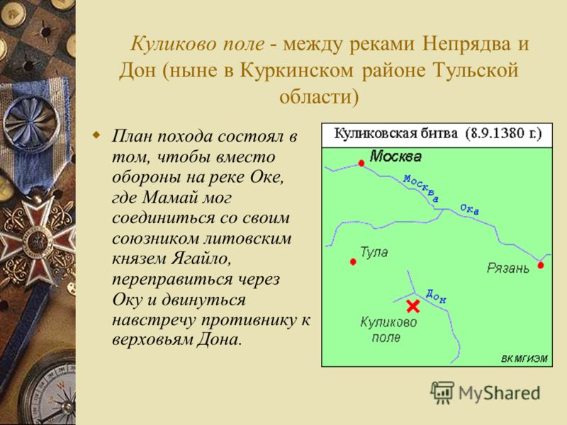 Куликово поле - между реками Непрядва и Дон (ныне в Куркинском районе Тульской области) План похода состоял в том, чтобы вместо обороны на реке Оке, где Мамай мог соединиться со своим союзником литовским князем Ягайло, переправиться через Оку и двину