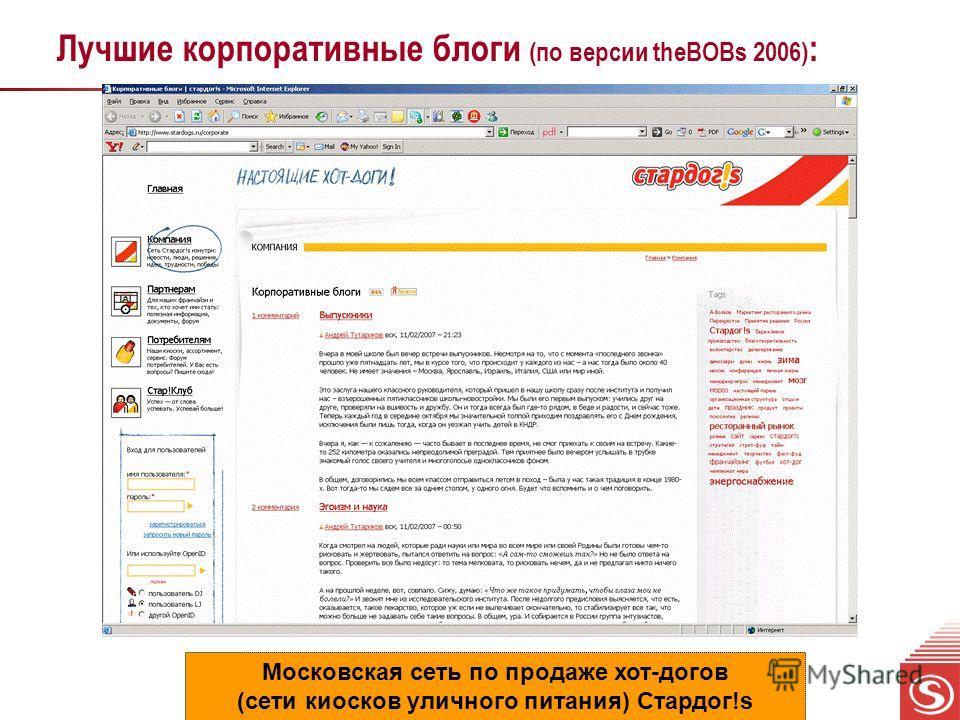 Лучшие корпоративные блоги (по версии theBOBs 2006) : Московская сеть по продаже хот-догов (сети киосков уличного питания) Стардог!s