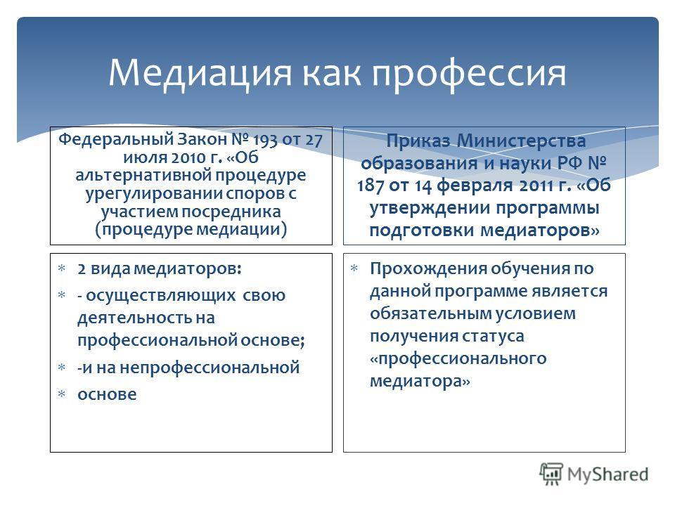 Медиация как профессия Федеральный Закон 193 от 27 июля 2010 г. «Об альтернативной процедуре урегулировании споров с участием посредника (процедуре медиации) 2 вида медиаторов: - осуществляющих свою деятельность на профессиональной основе; -и на непр