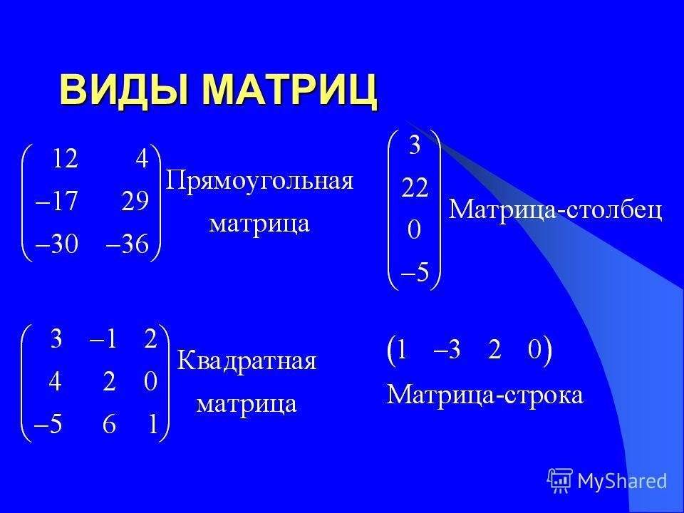 ВИДЫ МАТРИЦ