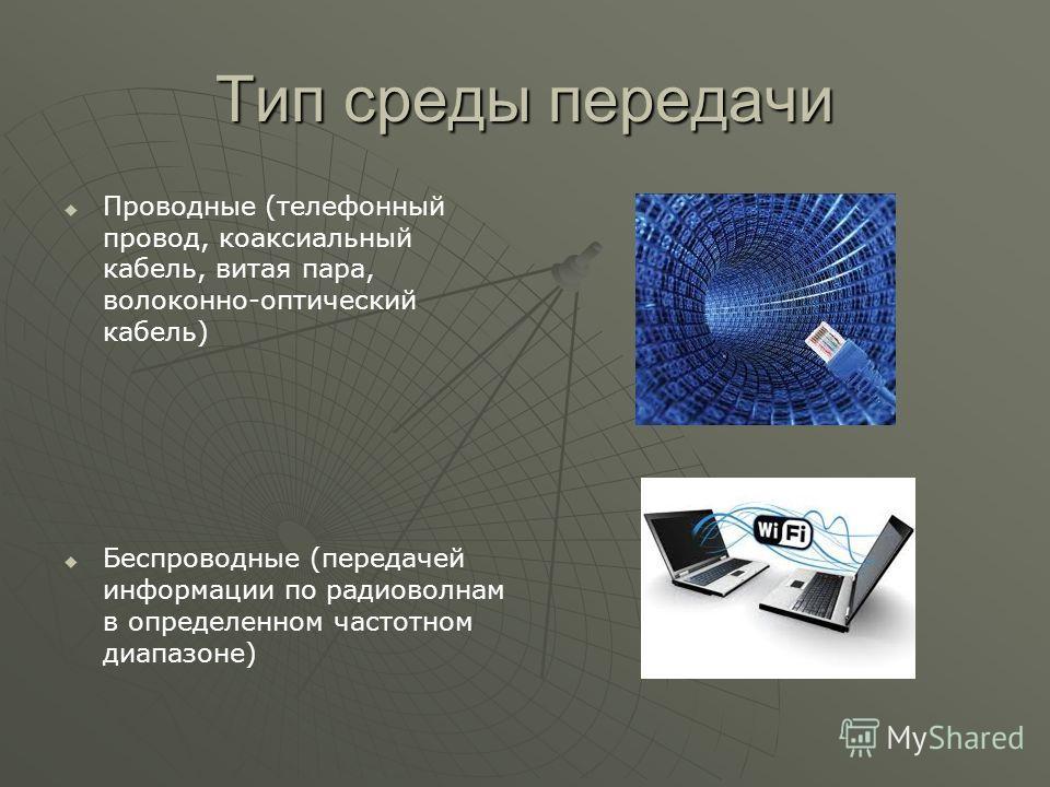Тип среды передачи Проводные (телефонный провод, коаксиальный кабель, витая пара, волоконно-оптический кабель) Беспроводные (передачей информации по радиоволнам в определенном частотном диапазоне)