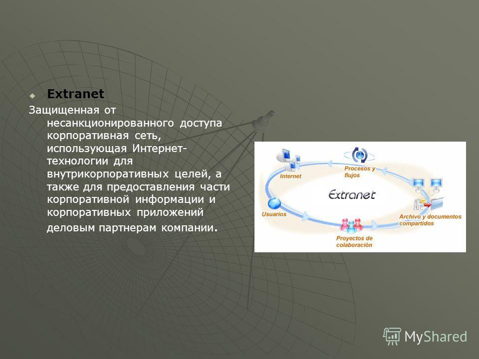 Extranet Защищенная от несанкционированного доступа корпоративная сеть, использующая Интернет- технологии для внутрикорпоративных целей, а также для предоставления части корпоративной информации и корпоративных приложений деловым партнерам компании.