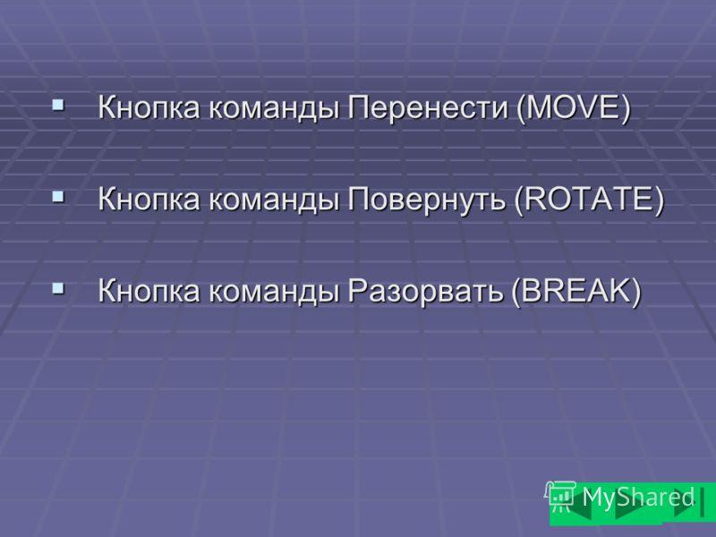 Кнопка команды Перенести (MOVE) Кнопка команды Перенести (MOVE) Кнопка команды Повернуть (ROTATE) Кнопка команды Повернуть (ROTATE) Кнопка команды Разорвать (BREAK) Кнопка команды Разорвать (BREAK)