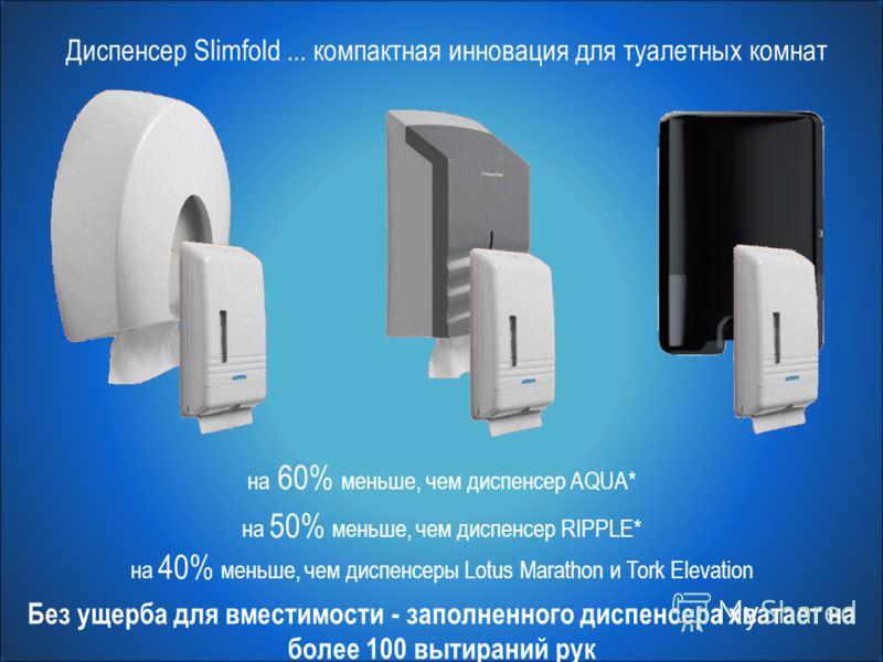 на 40% меньше, чем диспенсеры Lotus Marathon и Tork Elevation на 50% меньше, чем диспенсер RIPPLE* на 60% меньше, чем диспенсер AQUA* Диспенсер Slimfold... компактная инновация для туалетных комнат Без ущерба для вместимости - заполненного диспенсера