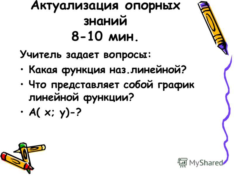 Актуализация опорных знаний 8-10 мин. Учитель задает вопросы: Какая функция наз.линейной? Что представляет собой график линейной функции? А( х; у)-?